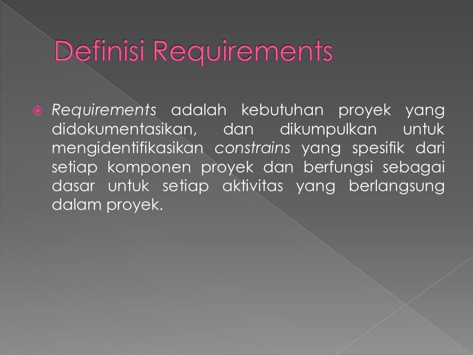  Requirements adalah kebutuhan proyek yang didokumentasikan, dan dikumpulkan untuk mengidentifikasikan constrains yang spesifik dari setiap komponen