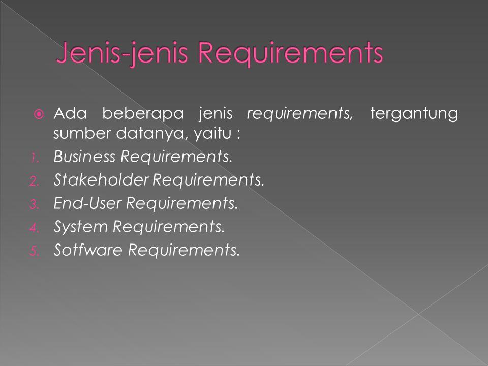  Ada beberapa jenis requirements, tergantung sumber datanya, yaitu : 1. Business Requirements. 2. Stakeholder Requirements. 3. End-User Requirements.