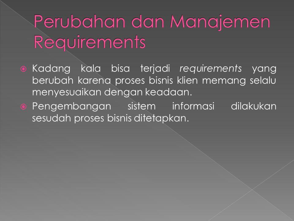  Kadang kala bisa terjadi requirements yang berubah karena proses bisnis klien memang selalu menyesuaikan dengan keadaan.  Pengembangan sistem infor