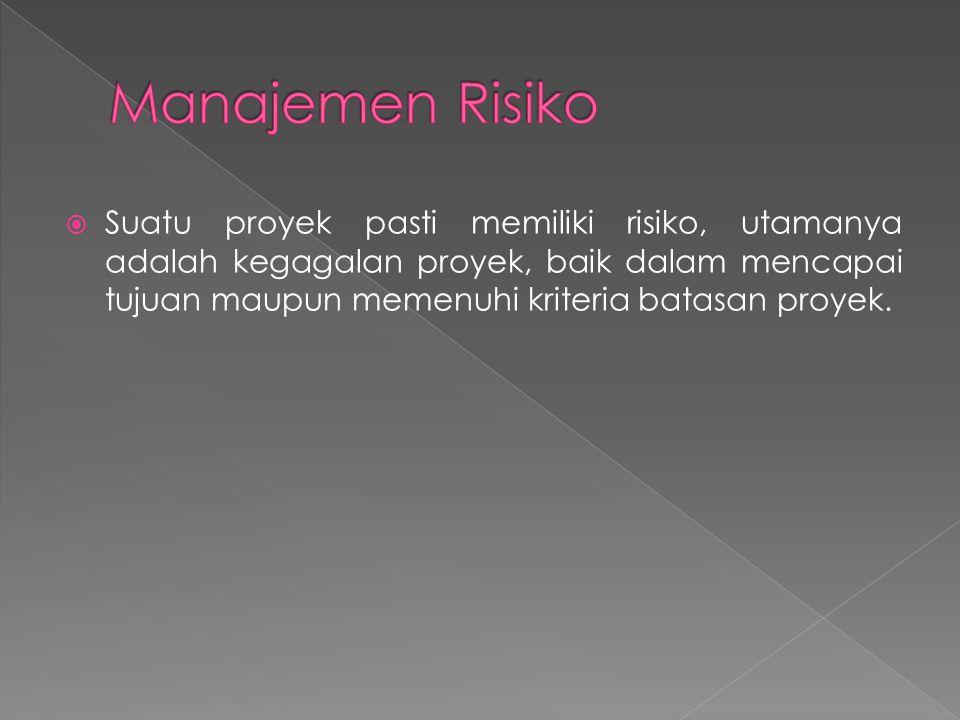  Suatu proyek pasti memiliki risiko, utamanya adalah kegagalan proyek, baik dalam mencapai tujuan maupun memenuhi kriteria batasan proyek.