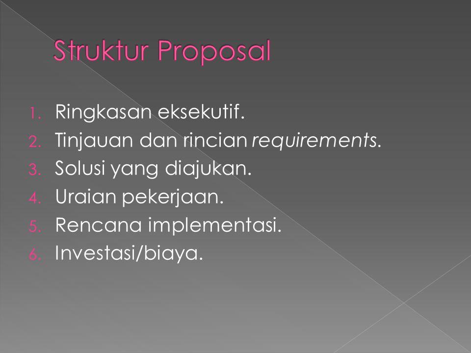 1. Ringkasan eksekutif. 2. Tinjauan dan rincian requirements. 3. Solusi yang diajukan. 4. Uraian pekerjaan. 5. Rencana implementasi. 6. Investasi/biay