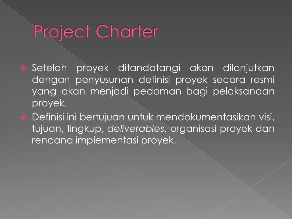  Setelah proyek ditandatangi akan dilanjutkan dengan penyusunan definisi proyek secara resmi yang akan menjadi pedoman bagi pelaksanaan proyek.  Def