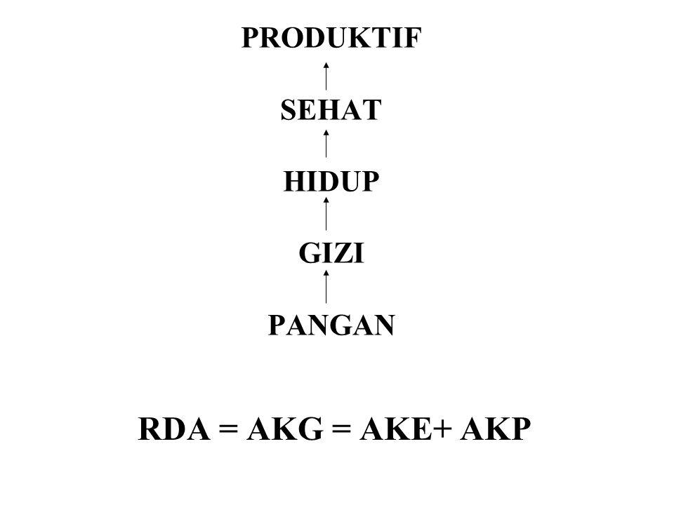 PRODUKTIF SEHAT HIDUP GIZI PANGAN RDA = AKG = AKE+ AKP