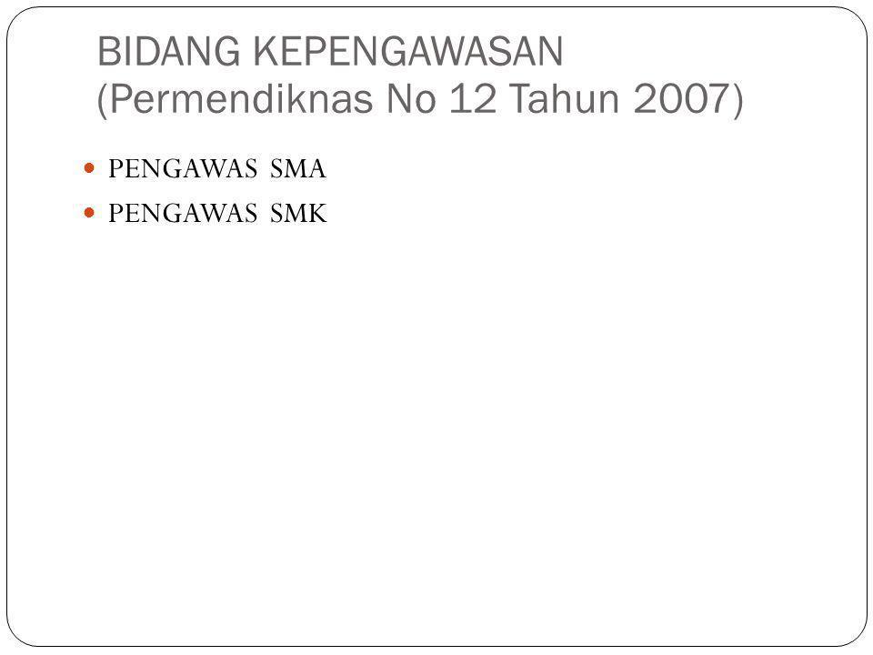 BIDANG KEPENGAWASAN (Permendiknas No 12 Tahun 2007) PENGAWAS SMA PENGAWAS SMK