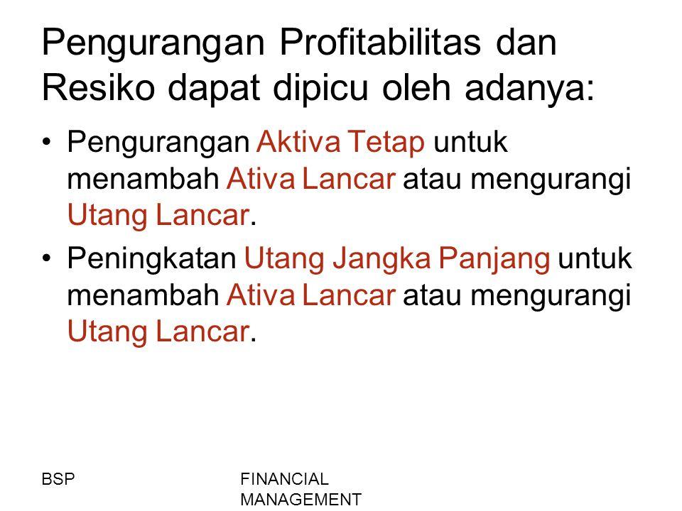 FINANCIAL MANAGEMENT Pengurangan Profitabilitas dan Resiko dapat dipicu oleh adanya: Pengurangan Aktiva Tetap untuk menambah Ativa Lancar atau mengura