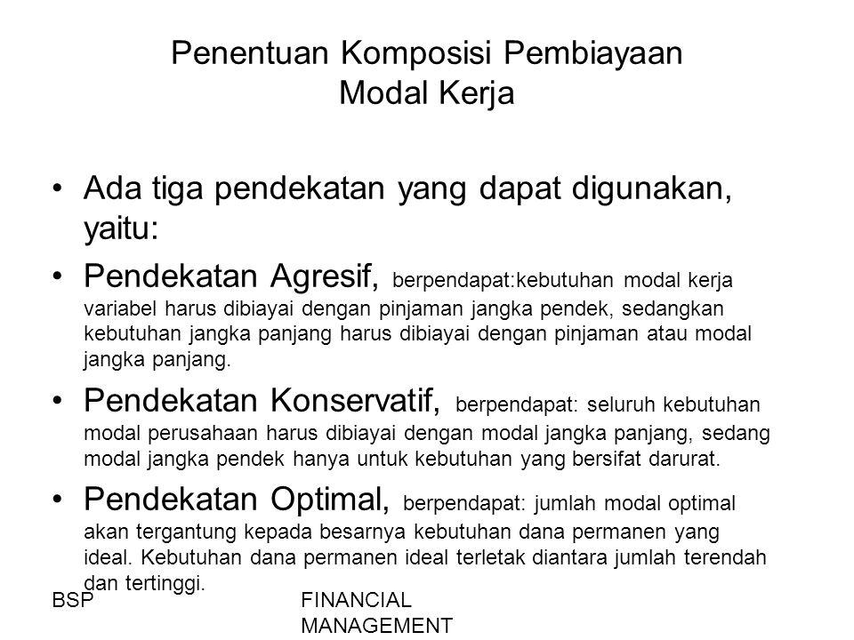 FINANCIAL MANAGEMENT Penentuan Komposisi Pembiayaan Modal Kerja Ada tiga pendekatan yang dapat digunakan, yaitu: Pendekatan Agresif, berpendapat:kebut
