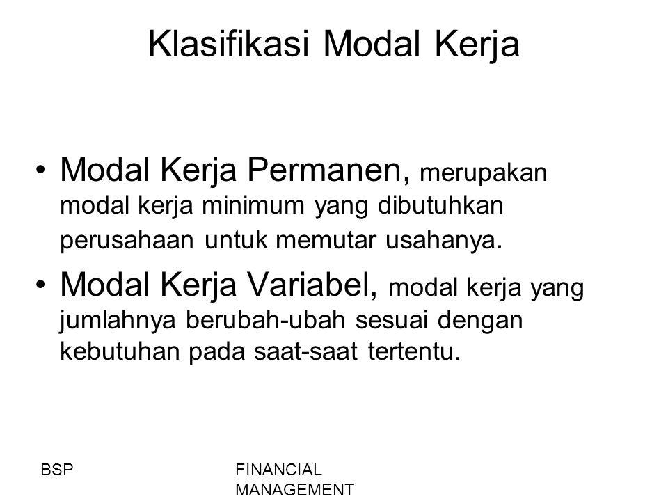 FINANCIAL MANAGEMENT Klasifikasi Modal Kerja Modal Kerja Permanen, merupakan modal kerja minimum yang dibutuhkan perusahaan untuk memutar usahanya. Mo