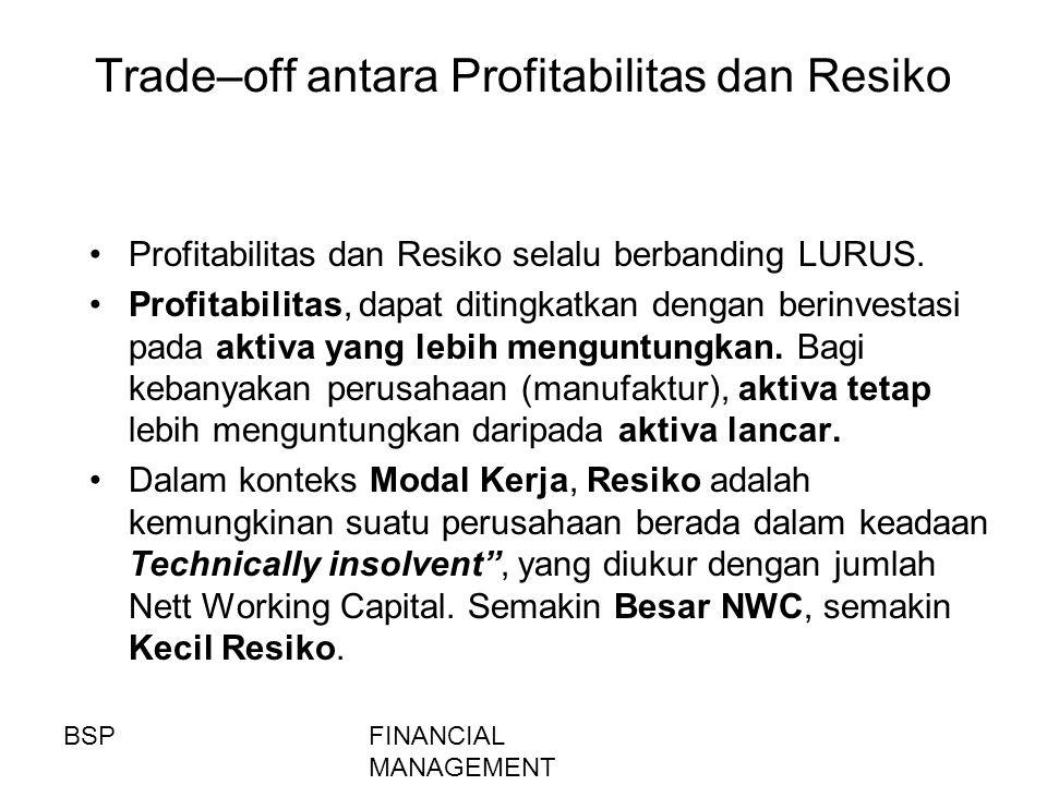 FINANCIAL MANAGEMENT Trade–off antara Profitabilitas dan Resiko Profitabilitas dan Resiko selalu berbanding LURUS. Profitabilitas, dapat ditingkatkan