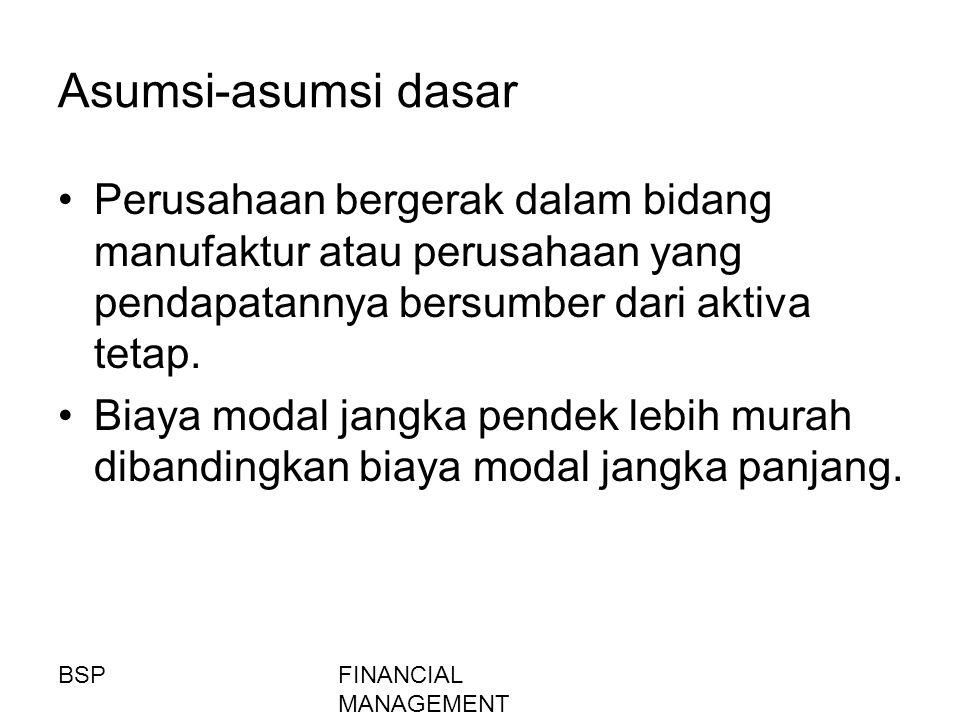FINANCIAL MANAGEMENT Asumsi-asumsi dasar Perusahaan bergerak dalam bidang manufaktur atau perusahaan yang pendapatannya bersumber dari aktiva tetap. B