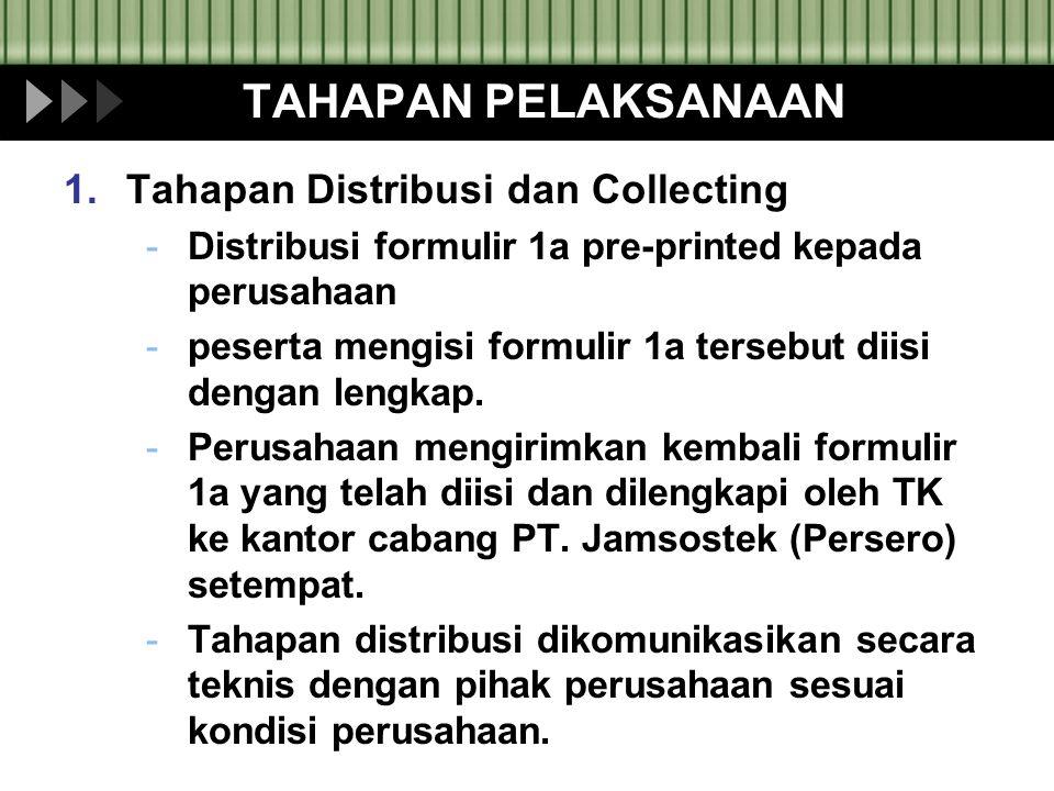 TAHAPAN PELAKSANAAN 1.Tahapan Distribusi dan Collecting -Distribusi formulir 1a pre-printed kepada perusahaan -peserta mengisi formulir 1a tersebut di