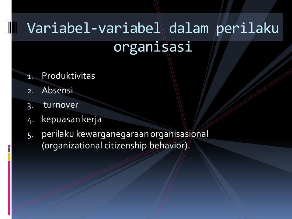 1. Produktivitas 2. Absensi 3. turnover 4. kepuasan kerja 5. perilaku kewarganegaraan organisasional (organizational citizenship behavior). Variabel-v