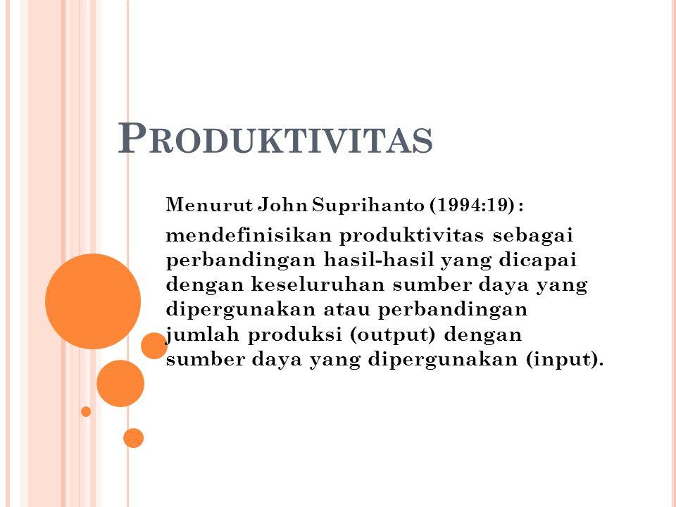 P RODUKTIVITAS Menurut John Suprihanto (1994:19) : mendefinisikan produktivitas sebagai perbandingan hasil-hasil yang dicapai dengan keseluruhan sumbe