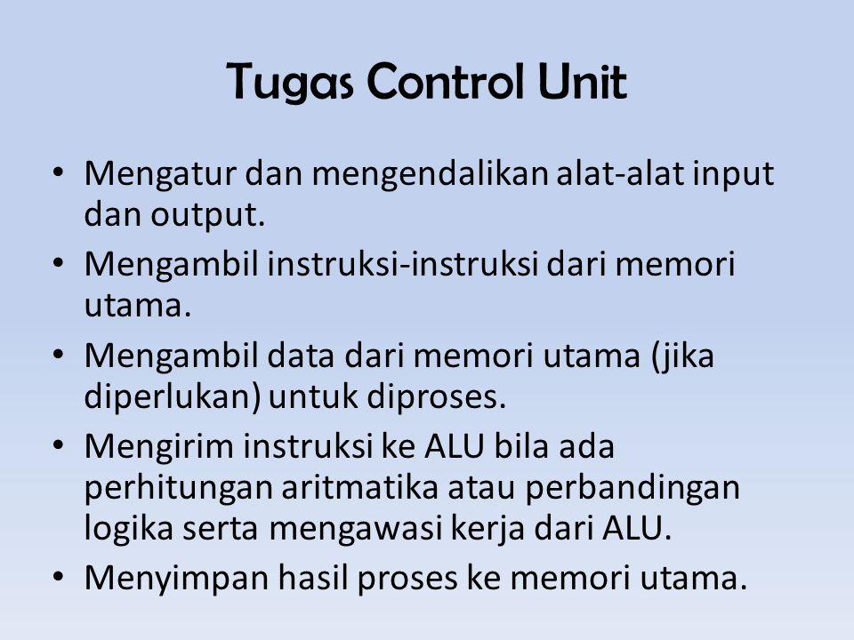 Tugas Control Unit Mengatur dan mengendalikan alat-alat input dan output.