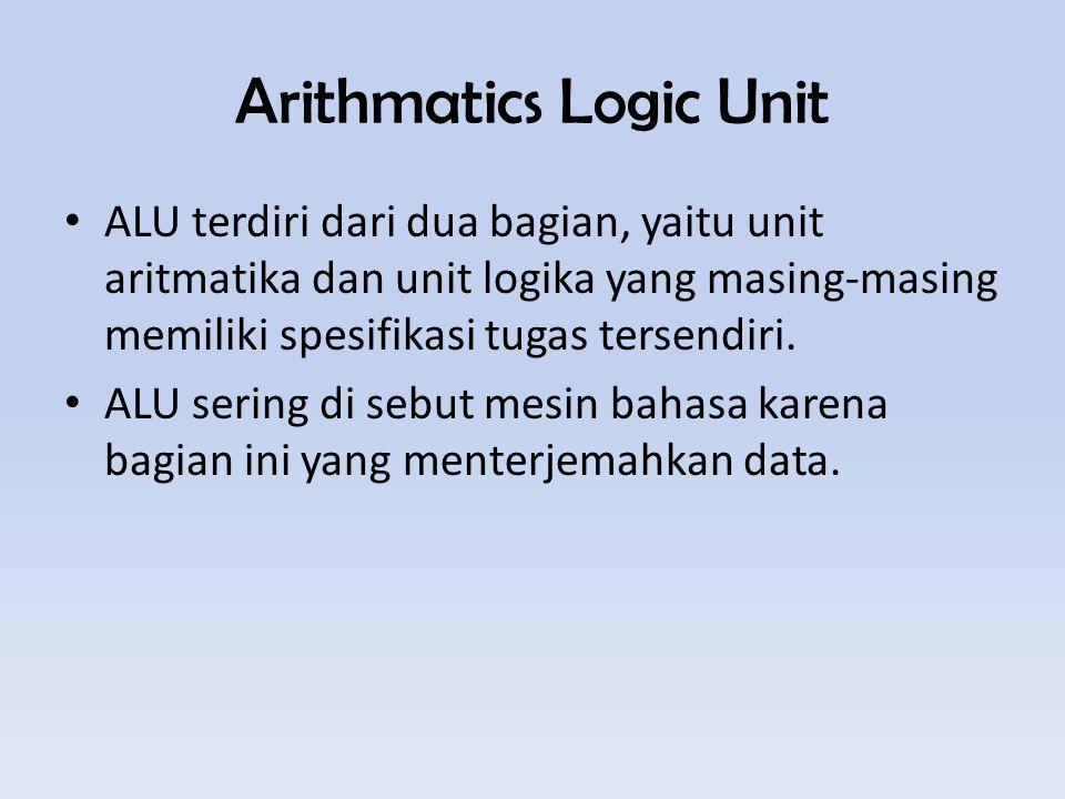 Arithmatics Logic Unit ALU terdiri dari dua bagian, yaitu unit aritmatika dan unit logika yang masing-masing memiliki spesifikasi tugas tersendiri.