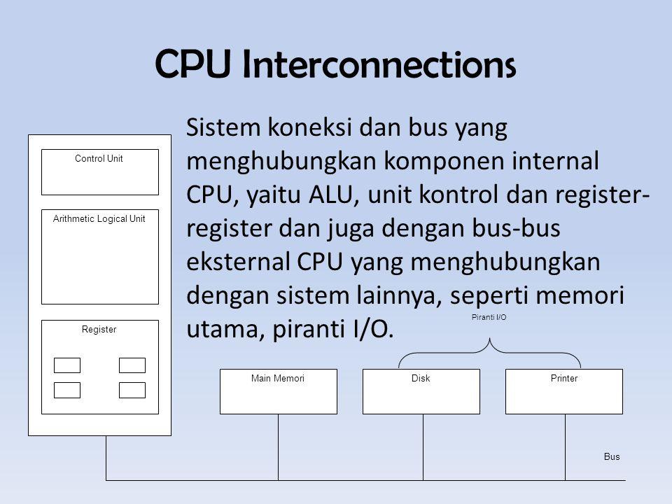 CPU Interconnections Sistem koneksi dan bus yang menghubungkan komponen internal CPU, yaitu ALU, unit kontrol dan register- register dan juga dengan bus-bus eksternal CPU yang menghubungkan dengan sistem lainnya, seperti memori utama, piranti I/O.