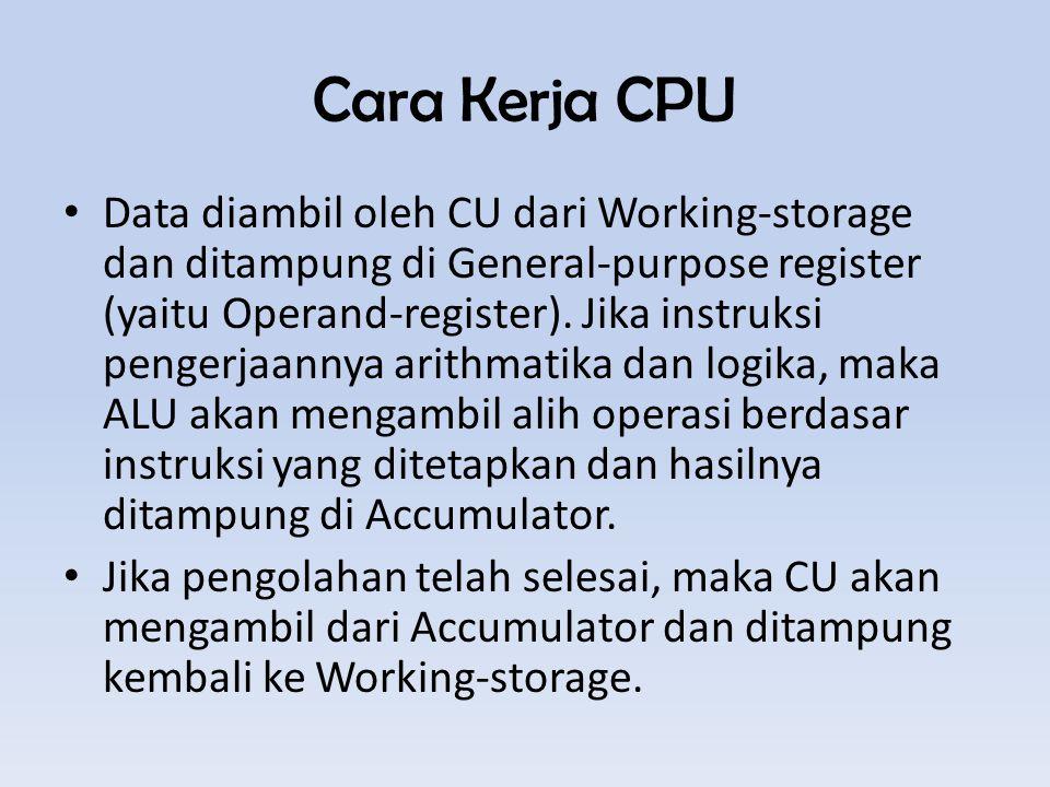 Cara Kerja CPU Data diambil oleh CU dari Working-storage dan ditampung di General-purpose register (yaitu Operand-register).