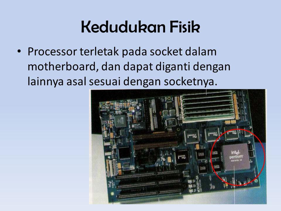 Kedudukan Fisik Processor terletak pada socket dalam motherboard, dan dapat diganti dengan lainnya asal sesuai dengan socketnya.