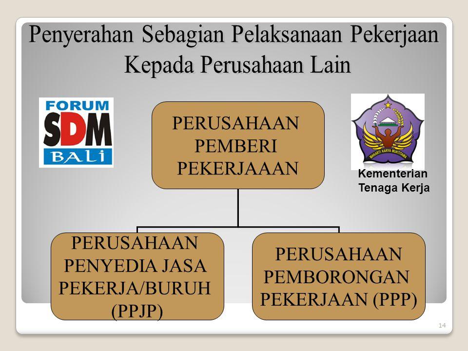 PERUSAHAAN PEMBERI PEKERJAAAN PERUSAHAAN PENYEDIA JASA PEKERJA/BURUH (PPJP) PERUSAHAAN PEMBORONGAN PEKERJAAN (PPP) 14 Kementerian Tenaga Kerja
