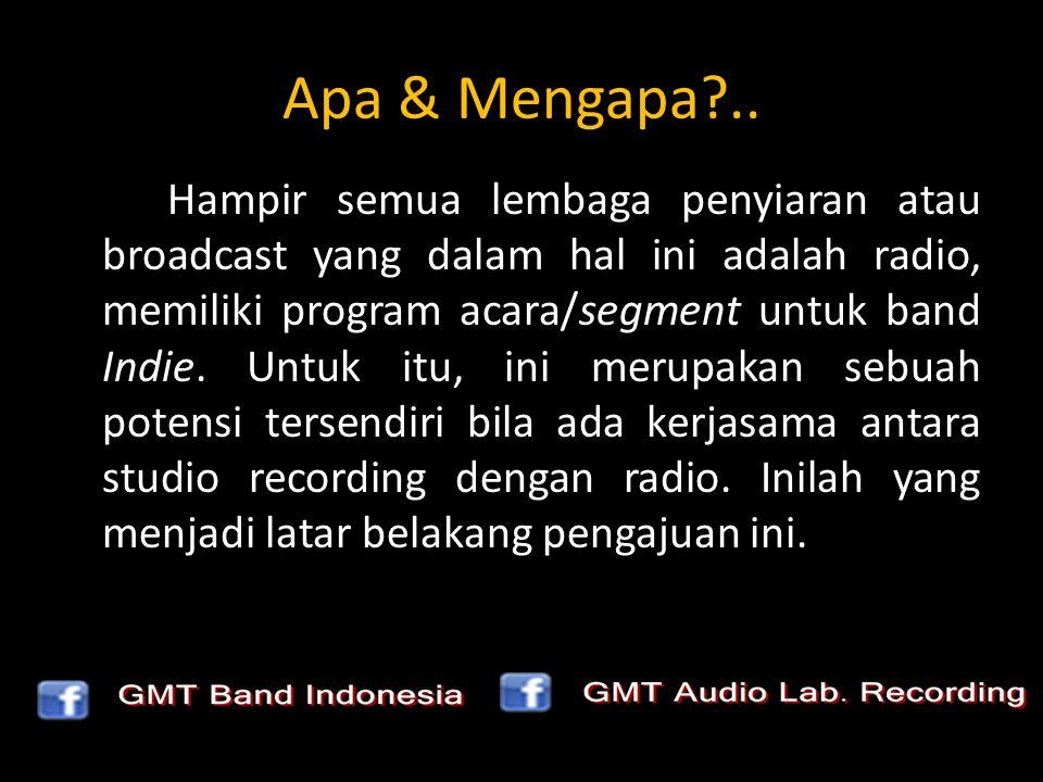 Apa & Mengapa?.. Hampir semua lembaga penyiaran atau broadcast yang dalam hal ini adalah radio, memiliki program acara/segment untuk band Indie. Untuk