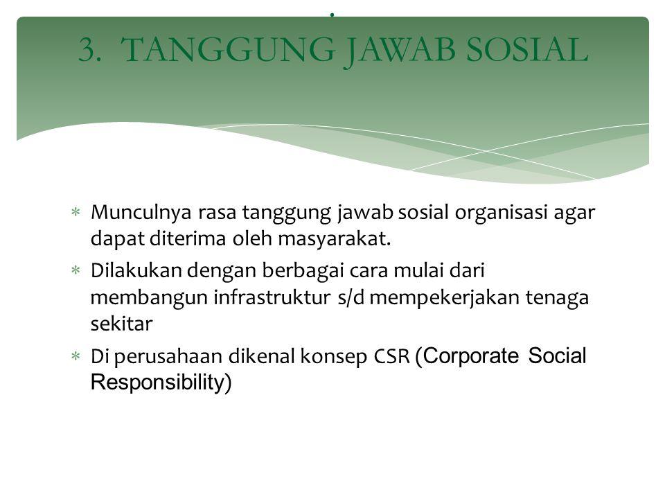  Munculnya rasa tanggung jawab sosial organisasi agar dapat diterima oleh masyarakat.  Dilakukan dengan berbagai cara mulai dari membangun infrastru