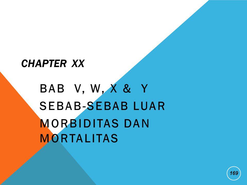 CHAPTER XX BAB V, W, X & Y SEBAB-SEBAB LUAR MORBIDITAS DAN MORTALITAS 169