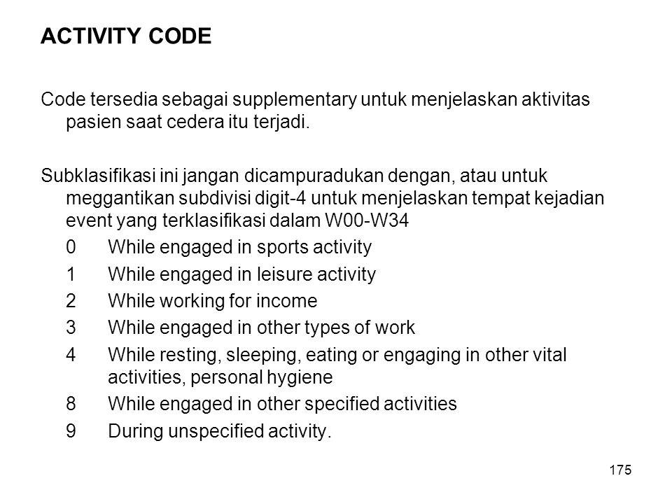 175 ACTIVITY CODE Code tersedia sebagai supplementary untuk menjelaskan aktivitas pasien saat cedera itu terjadi. Subklasifikasi ini jangan dicampurad
