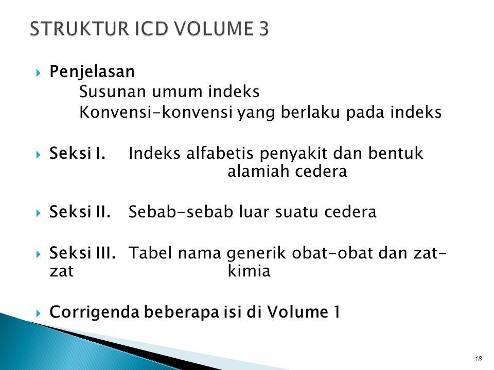  Penjelasan Susunan umum indeks Konvensi-konvensi yang berlaku pada indeks  Seksi I.Indeks alfabetis penyakit dan bentuk alamiah cedera  Seksi II.S