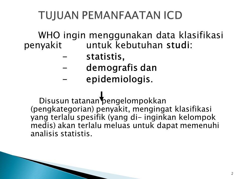 WHO ingin menggunakan data klasifikasi penyakit untuk kebutuhan studi: -statistis, -demografis dan -epidemiologis. Disusun tatanan pengelompokkan (pen