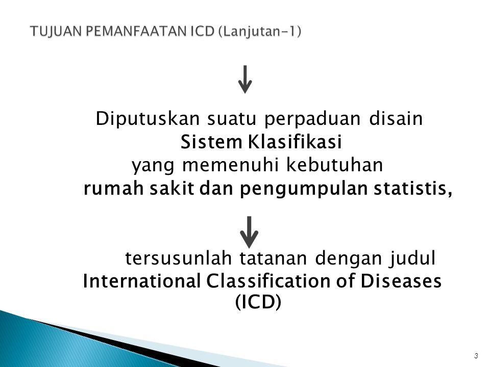 Diputuskan suatu perpaduan disain Sistem Klasifikasi yang memenuhi kebutuhan rumah sakit dan pengumpulan statistis, tersusunlah tatanan dengan judul I