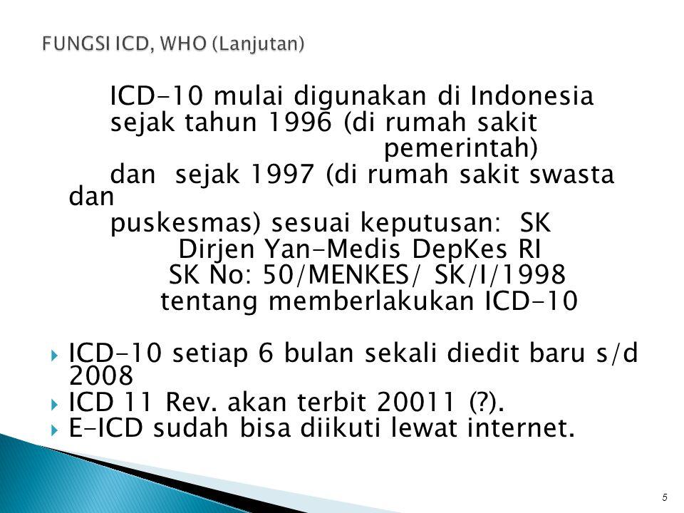 ICD-10 mulai digunakan di Indonesia sejak tahun 1996 (di rumah sakit pemerintah) dan sejak 1997 (di rumah sakit swasta dan puskesmas) sesuai keputusan