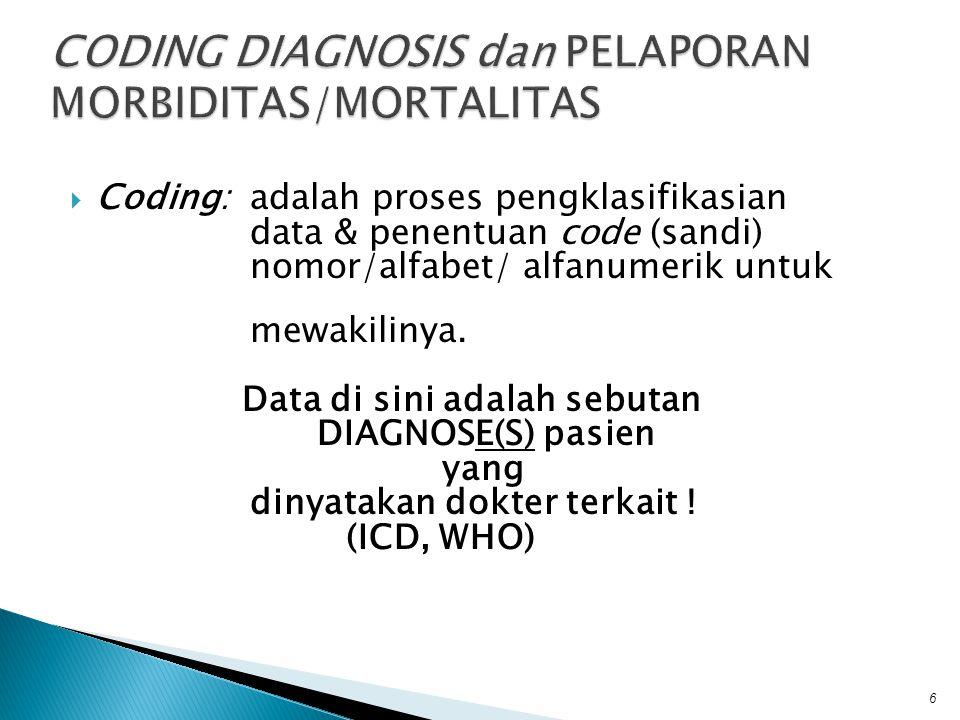  Coding: adalah proses pengklasifikasian data & penentuan code (sandi) nomor/alfabet/ alfanumerik untuk mewakilinya. Data di sini adalah sebutan DIAG