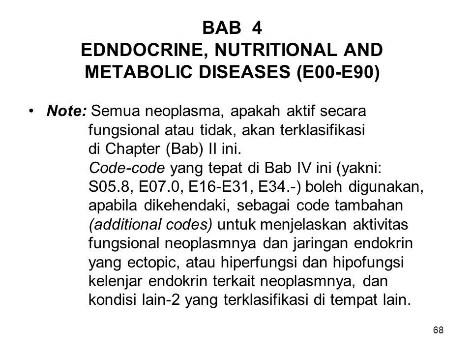 68 BAB 4 EDNDOCRINE, NUTRITIONAL AND METABOLIC DISEASES (E00-E90) Note: Semua neoplasma, apakah aktif secara fungsional atau tidak, akan terklasifikas
