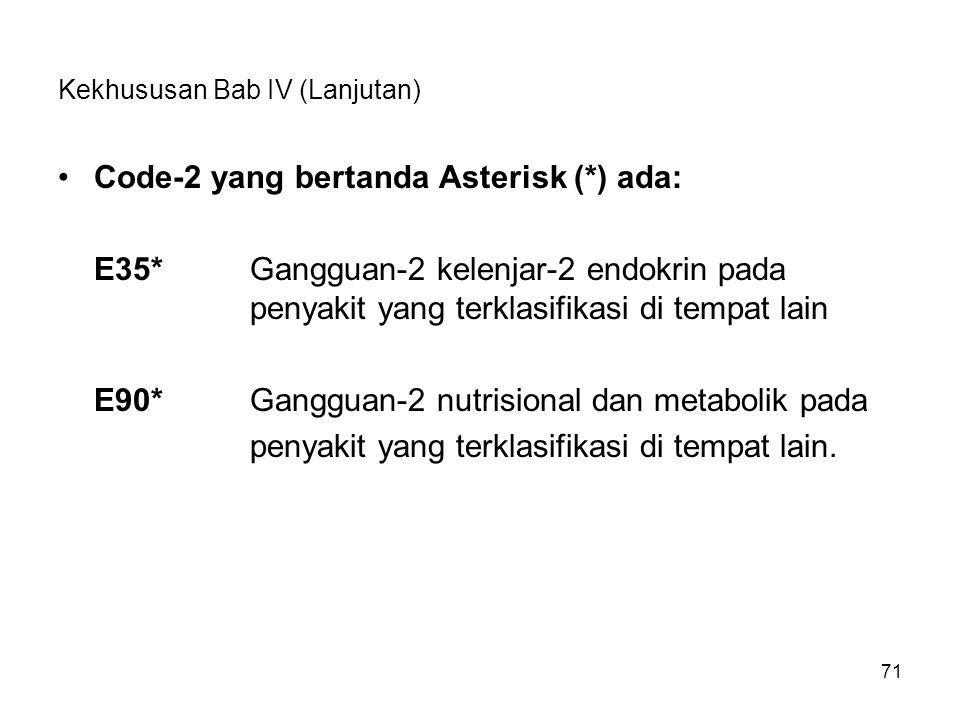71 Kekhususan Bab IV (Lanjutan) Code-2 yang bertanda Asterisk (*) ada: E35*Gangguan-2 kelenjar-2 endokrin pada penyakit yang terklasifikasi di tempat