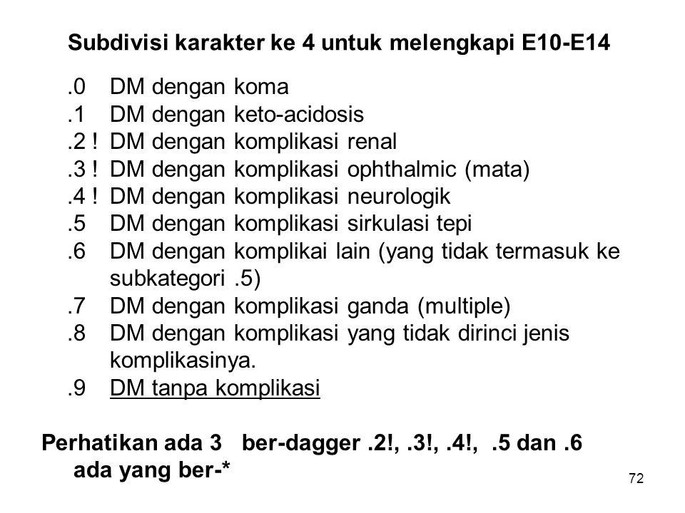 72 Subdivisi karakter ke 4 untuk melengkapi E10-E14.0DM dengan koma.1DM dengan keto-acidosis.2 !DM dengan komplikasi renal.3 ! DM dengan komplikasi op