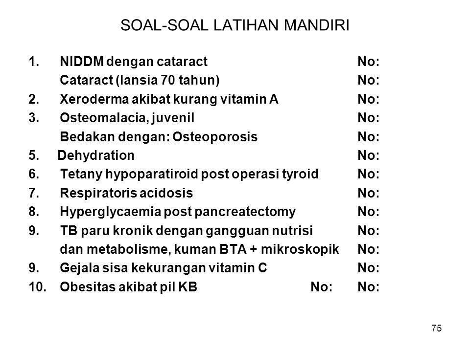 75 SOAL-SOAL LATIHAN MANDIRI 1.NIDDM dengan cataractNo: Cataract (lansia 70 tahun)No: 2.Xeroderma akibat kurang vitamin ANo: 3.Osteomalacia, juvenilNo