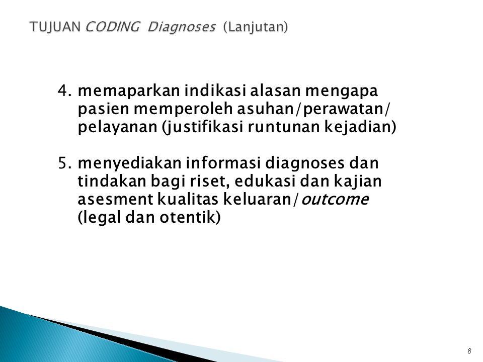 4.memaparkan indikasi alasan mengapa pasien memperoleh asuhan/perawatan/ pelayanan (justifikasi runtunan kejadian) 5.menyediakan informasi diagnoses d