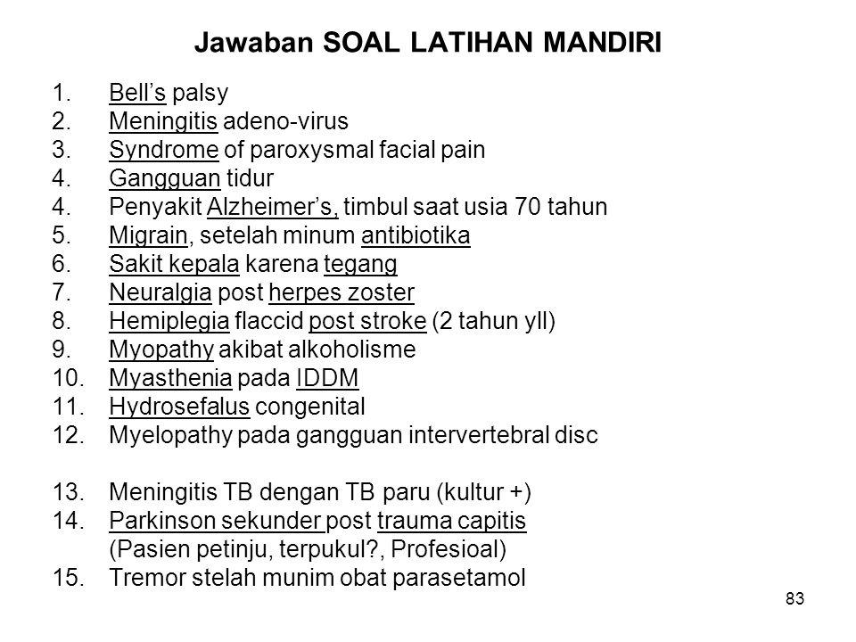 83 Jawaban SOAL LATIHAN MANDIRI 1.Bell's palsyNo: G51.0 2.Meningitis adeno-virusNo: A87.1! G02.0* 3.Syndrome of paroxysmal facial painNo: G50.0 4.Gang