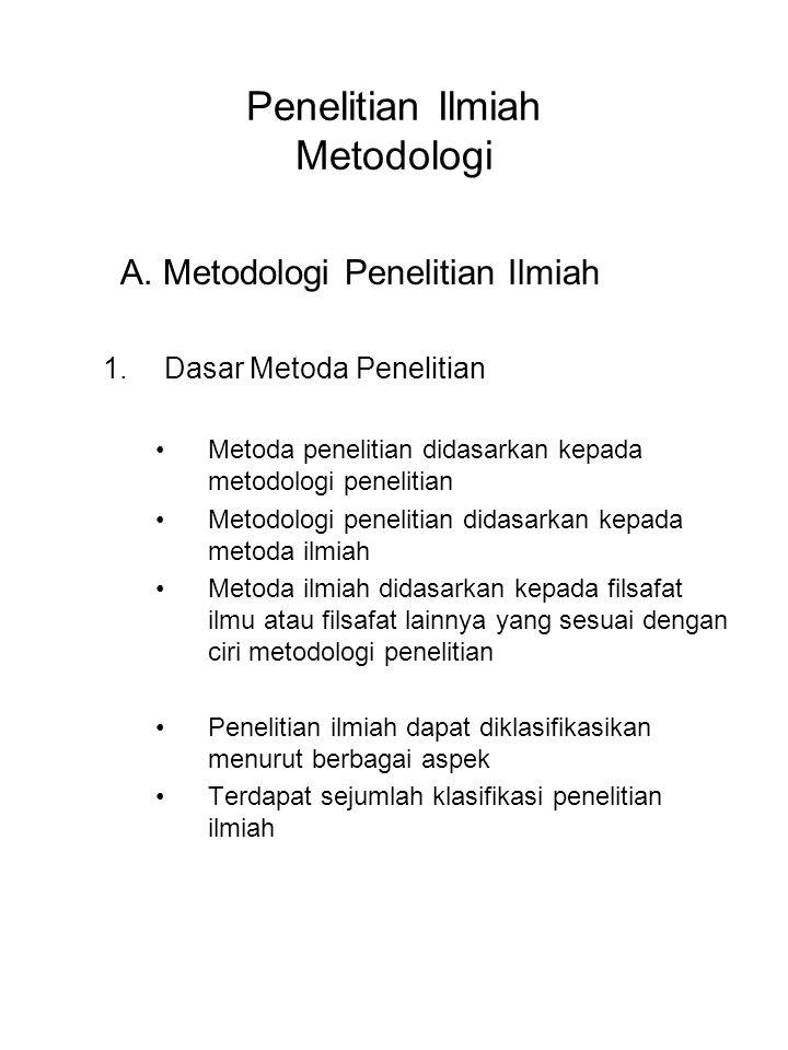 Penelitian Ilmiah Metodologi A. Metodologi Penelitian Ilmiah 1.Dasar Metoda Penelitian Metoda penelitian didasarkan kepada metodologi penelitian Metod