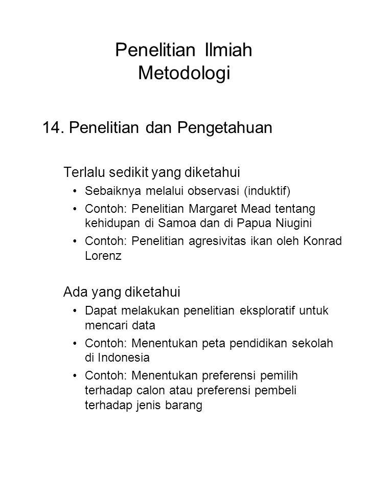 Penelitian Ilmiah Metodologi 14. Penelitian dan Pengetahuan Terlalu sedikit yang diketahui Sebaiknya melalui observasi (induktif) Contoh: Penelitian M