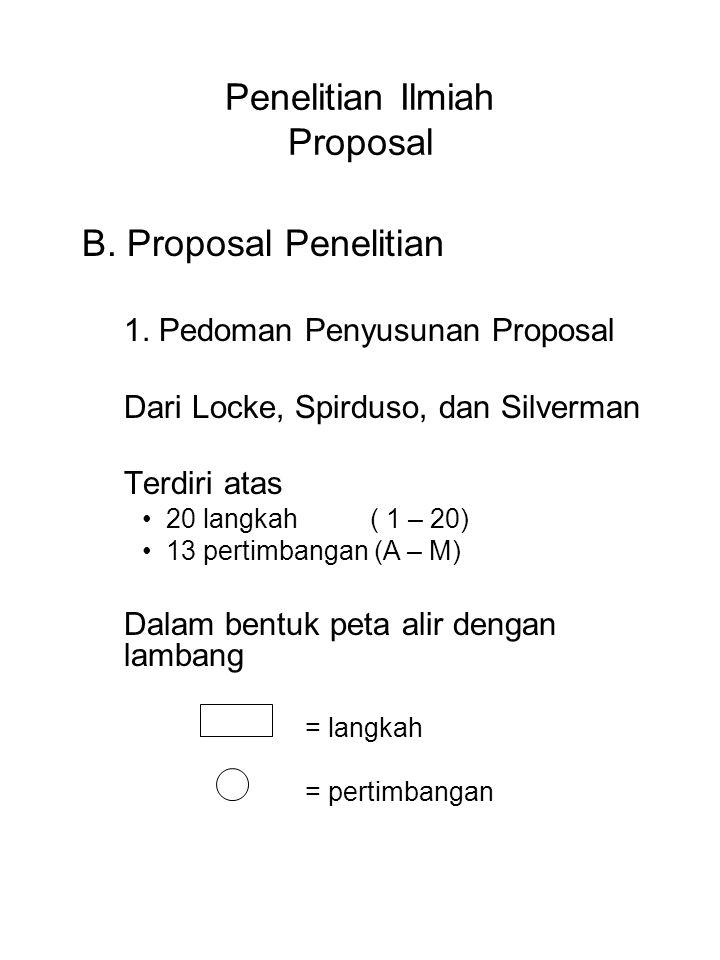 Penelitian Ilmiah Proposal B. Proposal Penelitian 1. Pedoman Penyusunan Proposal Dari Locke, Spirduso, dan Silverman Terdiri atas 20 langkah ( 1 – 20)