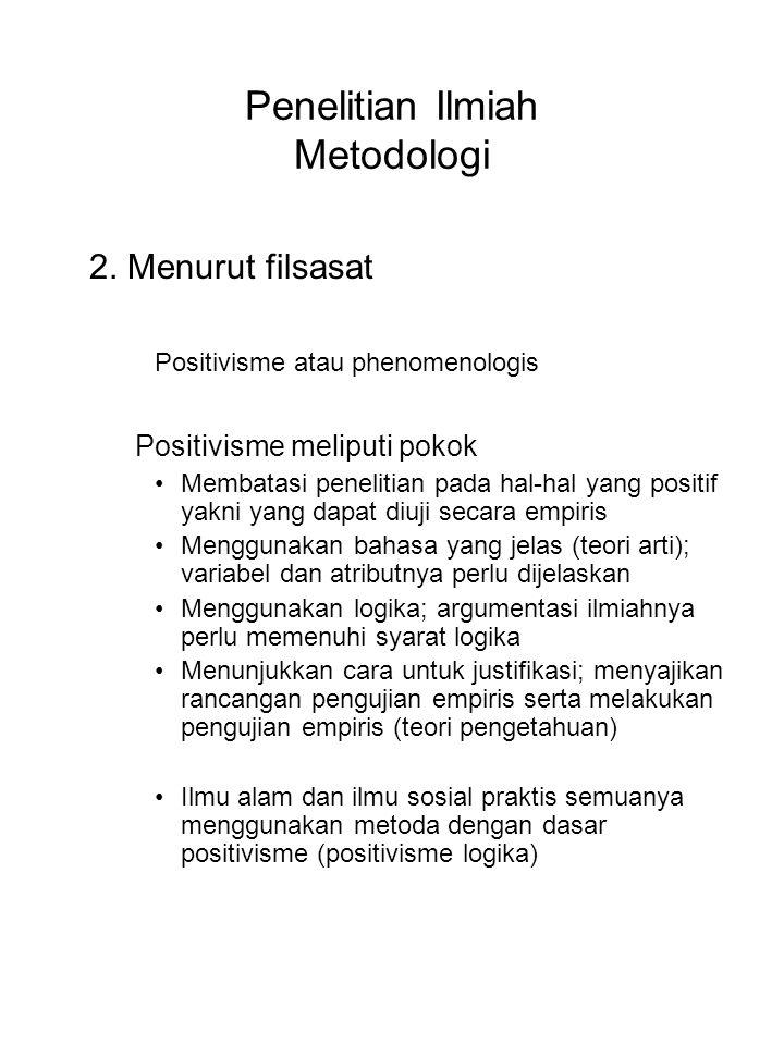 Penelitian Ilmiah Metodologi 2. Menurut filsasat Positivisme atau phenomenologis Positivisme meliputi pokok Membatasi penelitian pada hal-hal yang pos