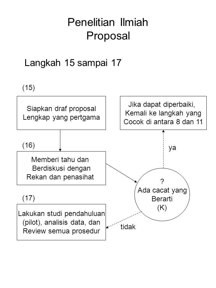 Penelitian Ilmiah Proposal Langkah 15 sampai 17 Siapkan draf proposal Lengkap yang pertgama Jika dapat diperbaiki, Kemali ke langkah yang Cocok di ant