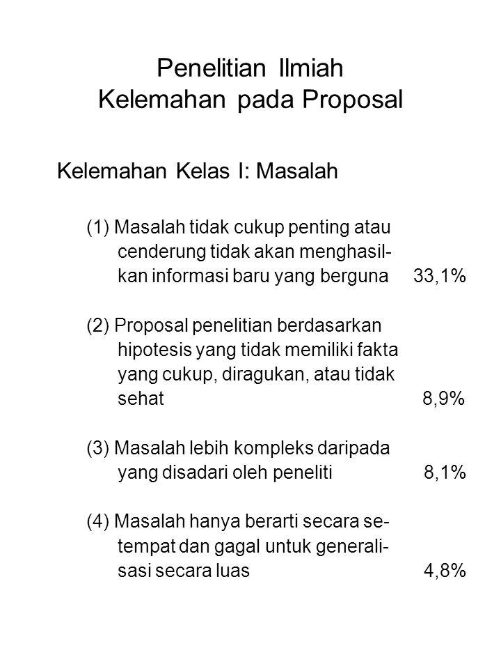 Penelitian Ilmiah Kelemahan pada Proposal Kelemahan Kelas I: Masalah (1) Masalah tidak cukup penting atau cenderung tidak akan menghasil- kan informas