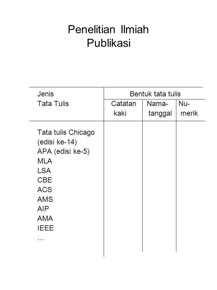 Penelitian Ilmiah Publikasi Jenis Bentuk tata tulis Tata Tulis Catatan Nama- Nu- kaki tanggal merik Tata tulis Chicago (edisi ke-14) APA (edisi ke-5)