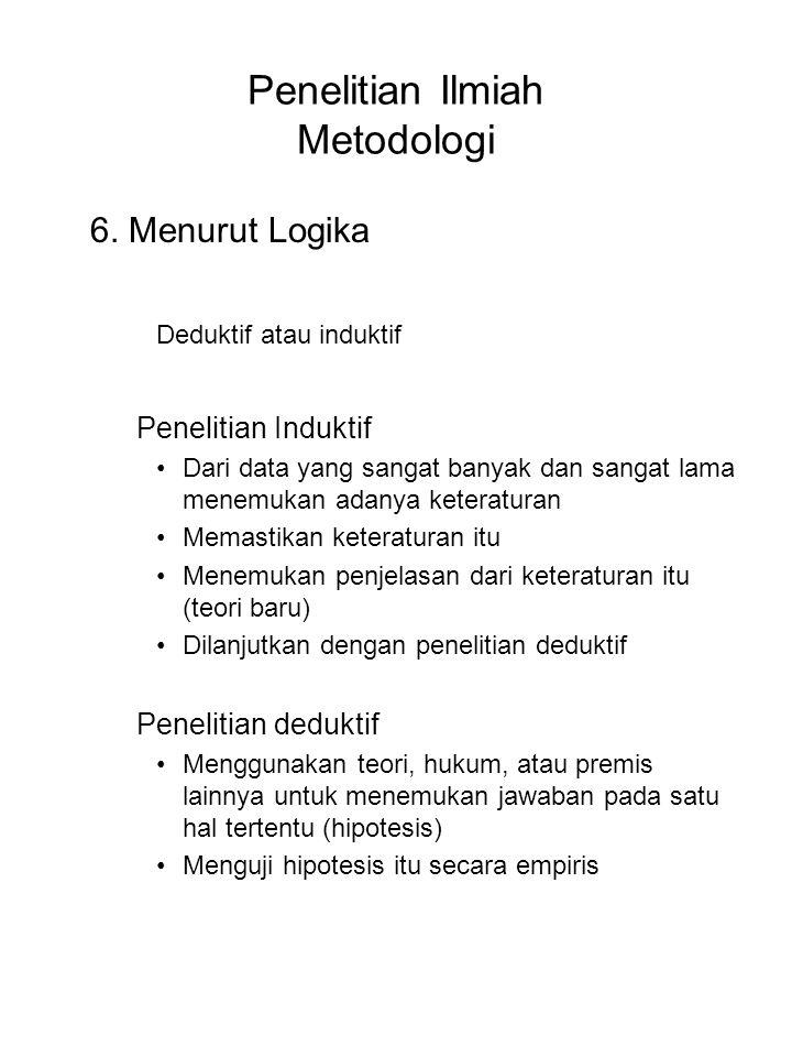 Penelitian Ilmiah Metodologi 6. Menurut Logika Deduktif atau induktif Penelitian Induktif Dari data yang sangat banyak dan sangat lama menemukan adany