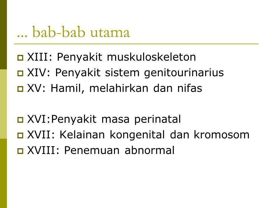 ... bab-bab utama  XIII: Penyakit muskuloskeleton  XIV: Penyakit sistem genitourinarius  XV: Hamil, melahirkan dan nifas  XVI:Penyakit masa perina