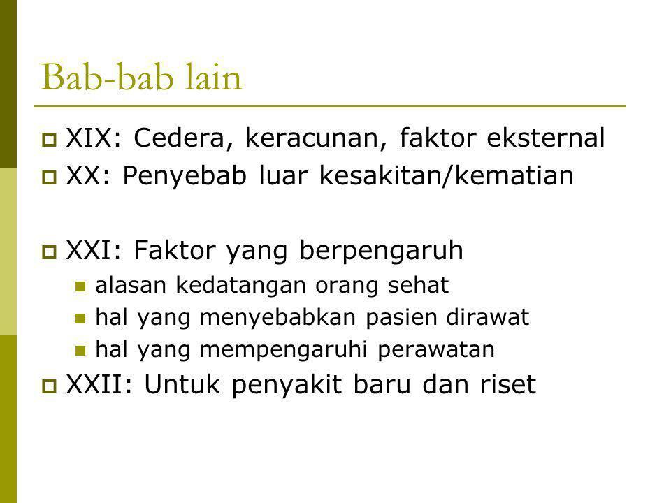 Bab-bab lain  XIX: Cedera, keracunan, faktor eksternal  XX: Penyebab luar kesakitan/kematian  XXI: Faktor yang berpengaruh alasan kedatangan orang