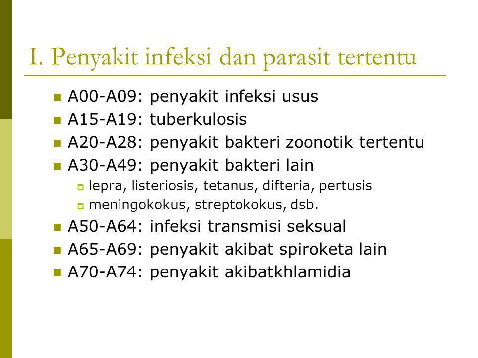 I. Penyakit infeksi dan parasit tertentu A00-A09: penyakit infeksi usus A15-A19: tuberkulosis A20-A28: penyakit bakteri zoonotik tertentu A30-A49: pen
