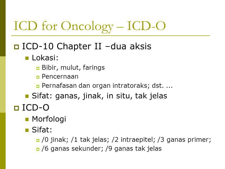 ICD for Oncology – ICD-O  ICD-10 Chapter II –dua aksis Lokasi:  Bibir, mulut, farings  Pencernaan  Pernafasan dan organ intratoraks; dst.... Sifat