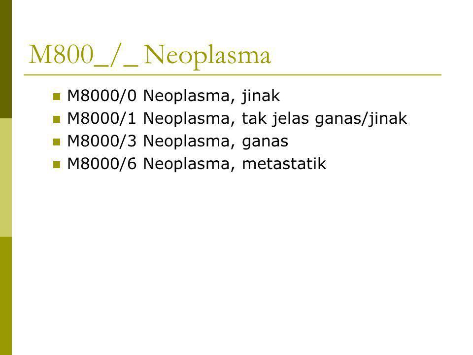 M800_/_ Neoplasma M8000/0 Neoplasma, jinak M8000/1 Neoplasma, tak jelas ganas/jinak M8000/3 Neoplasma, ganas M8000/6 Neoplasma, metastatik